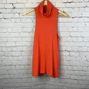 FREE PEOPLE Orange City Drippy Turtleneck Tank S